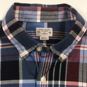 J. CREW Summer Plaid Shirt Mens Medium Blue Red